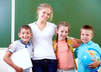 A volunter and children